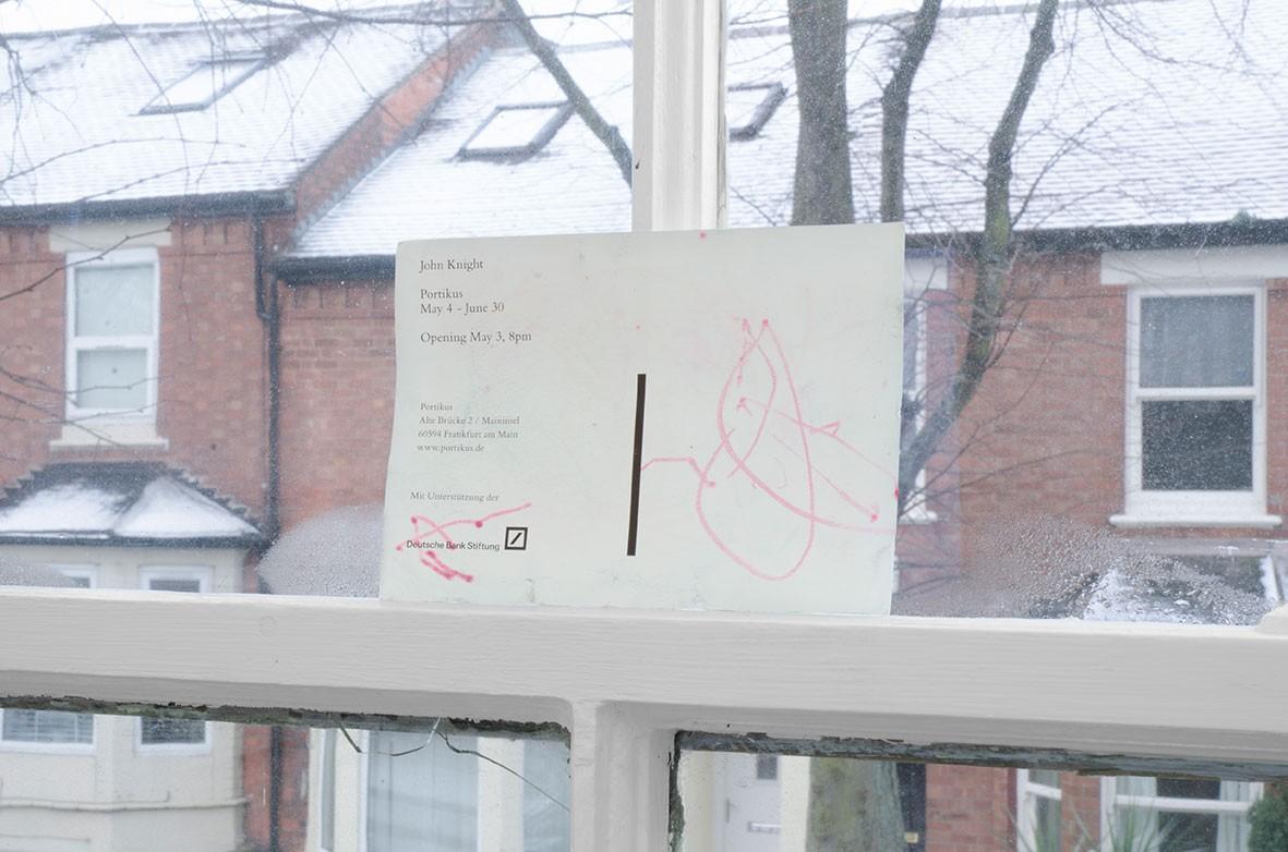 <em>untitled</em> Pen on ephemera produced for John Knight's exhibition at Portikus, 2018
